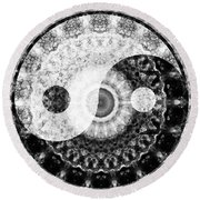 Ideal Balance Black And White Yin And Yang By Sharon Cummings Round Beach Towel by Sharon Cummings