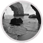 Idyllic Cave In Monochrome Round Beach Towel