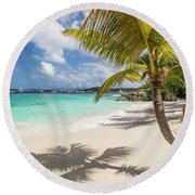 Round Beach Towel featuring the photograph Idyllic Salomon Beach by Adam Romanowicz