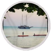 Round Beach Towel featuring the photograph Idyllic Setting To Idle The Time Away by Mr Photojimsf