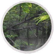 Round Beach Towel featuring the photograph If A Tree Falls In The Woods by Skip Willits