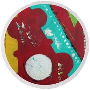 Round Beach Towel featuring the painting If Only The Pieces Matched by Sharyn Winters