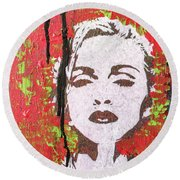 Round Beach Towel featuring the painting If You Want Me Let Me Know by Jayime Jean