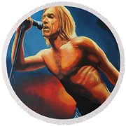 Iggy Pop Painting Round Beach Towel