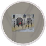 Round Beach Towel featuring the painting Ignoring The Homeless by Judith Rhue