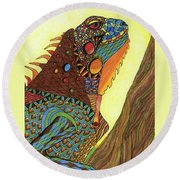 Iguana Round Beach Towel
