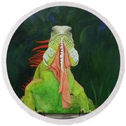 Iguana Dude Round Beach Towel