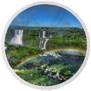 Iguazu Panorama Round Beach Towel by David Gleeson