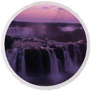 Iguazu Sunset In Violet Round Beach Towel
