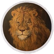 Lion Round Beach Towel by Jean Walker