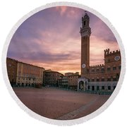 Round Beach Towel featuring the photograph Il Campo Dawn Siena Italy by Joan Carroll