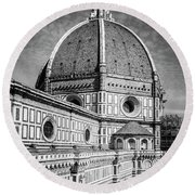 Round Beach Towel featuring the photograph Il Duomo Florence Italy Bw by Joan Carroll