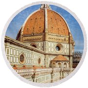 Round Beach Towel featuring the photograph Il Duomo Florence Italy by Joan Carroll