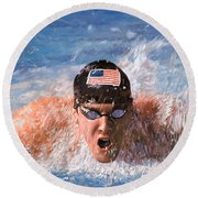 Il Nuotatore Round Beach Towel