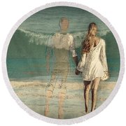 I'll Always Be Beside You Round Beach Towel