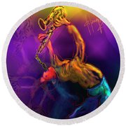 Round Beach Towel featuring the painting I'll Bend Over Backwards For Your Love by DC Langer