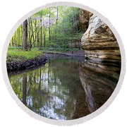 Round Beach Towel featuring the photograph Illinois Canyon In Spring by Paula Guttilla