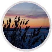 Illinois River Winter Sunset  Round Beach Towel