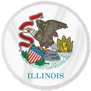 Illinois State Flag Round Beach Towel by American School
