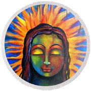 Illuminated By Her Own Radiant Self Round Beach Towel by Prerna Poojara