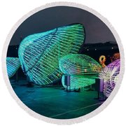 Illuminated Clam Lights Round Beach Towel