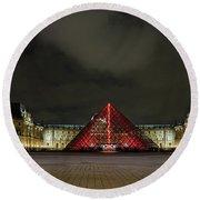 Illuminated Louvre Museum, Paris Round Beach Towel