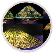 Illuminated Tiffany Lamps - A Collage Round Beach Towel