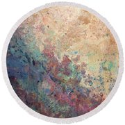 Illuminated Valley I Diptych Round Beach Towel