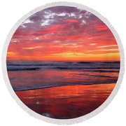 Round Beach Towel featuring the photograph North County Waves by John F Tsumas