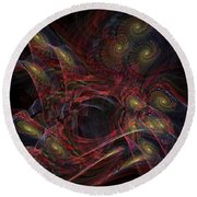 Round Beach Towel featuring the digital art Illusion And Chance - Fractal Art by NirvanaBlues