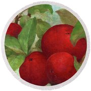 Illustrated Apples Round Beach Towel