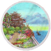 Illustrated Beach Cottage Water's Edge Round Beach Towel