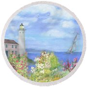 Illustrated Lighthouse By Summer Garden Round Beach Towel