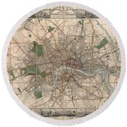 Illustrated Plan Of London And Its Environs - Map Of London - Historic Map - Antique Map Of London Round Beach Towel