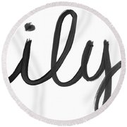 Round Beach Towel featuring the mixed media Ily- Art By Linda Woods by Linda Woods