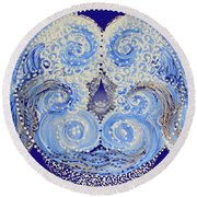 Round Beach Towel featuring the painting I'm A Drop In The Blue Wave. Join Me by Kym Nicolas