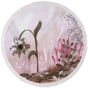 Round Beach Towel featuring the painting I'm A Survivor by Robin Maria Pedrero