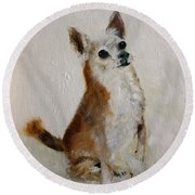 Rusty Being A Good Boy Round Beach Towel by Barbie Batson