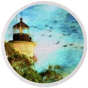 Round Beach Towel featuring the photograph I'm Here To Watch You Soar II by Jan Amiss Photography