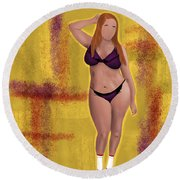 Round Beach Towel featuring the digital art I'm No Model Either by Bria Elyce