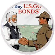 I'm Off To Fight For Old Glory - Ww1 Round Beach Towel