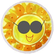Round Beach Towel featuring the painting I'm Too Hot For My Shades by Denise Fulmer