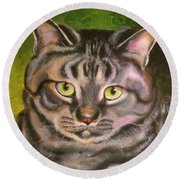Im Your Man Tabby Round Beach Towel