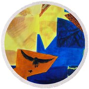 Round Beach Towel featuring the painting Imagination by Maria Langgle
