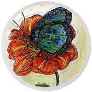 Imagine Butterflies A Round Beach Towel