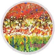 Imagine Happiness Round Beach Towel by Angela L Walker