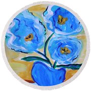 Imagine In Blue Round Beach Towel