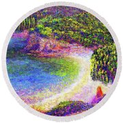 Round Beach Towel featuring the painting Imagine, Meditating In Beautiful Bay,seascape by Jane Small