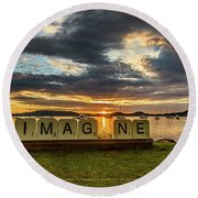 Imagine Sunrise Waterscape Over The Bay Round Beach Towel