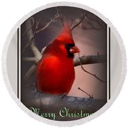 Img_3158-005 - Northern Cardinal Christmas Card Round Beach Towel